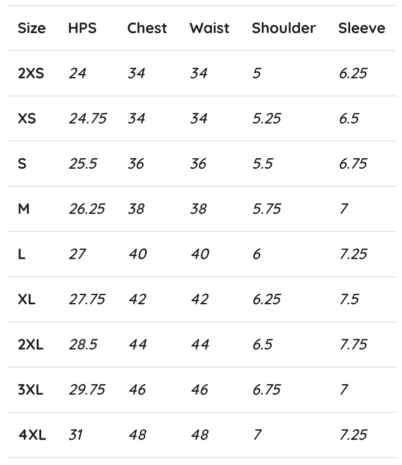 Sizing Chart (inches) - -