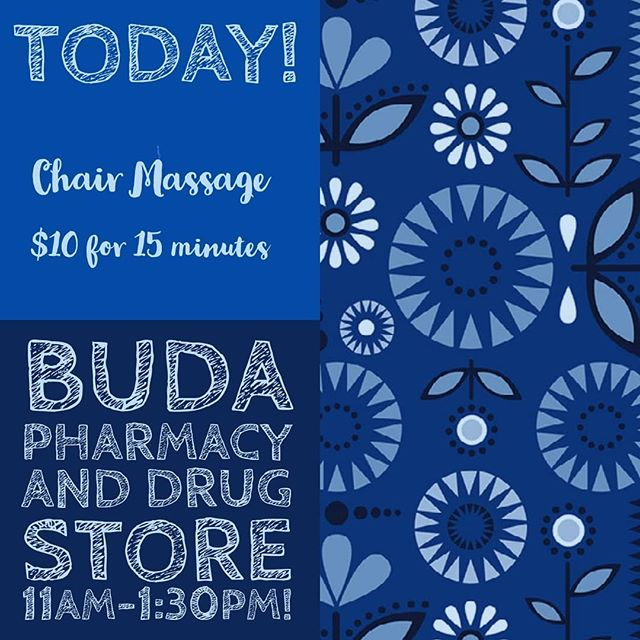 Today is Tuesday! I love engaging with my community from 11-1:30pm @budasodafountain offering 15 minute chair massage sessions! Come see me!  #budawellness #buda #budatx #budaevent #supportlocalbusinesses #kyle #kylemassage #kyletexas