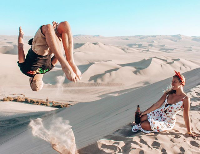 Huacachina - Peru's well known desert oasis. A LOT of travellers have said we only need to spend one day here, however within one hour of arriving we extended our stay because it was 💕love💕 at first sight! It's been the best 4 days sand boarding, buggying, backflipping and running down the dunes, and to top it all off our Swiss amigos have joined us 🥳 is anyone coming here soon? We have the BEST hostel recommendation 🥰 . . #peru #worldnomads #southamericatravel #discoversouthamerica #experiencesouthamerica #ig_peru #speechlessplaces #ourlonelyplanet #sandboarding #wondermore #backpacking #experienceperu #huacachina #rainbowmountain #desertoasis #hiking #visitsouthamerica #travelcouple #southamericatrip #incredibleplaces #travellifestyle #travelmore #huacachinaoasis