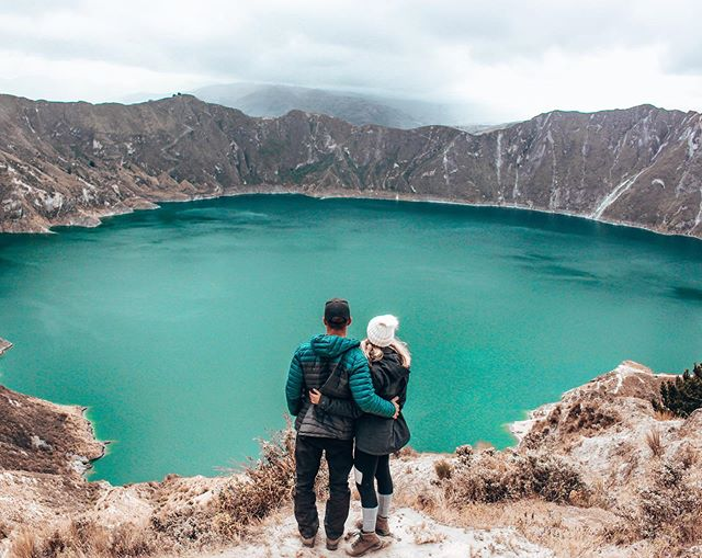 """QUILOTOA VOLCANO 3km wide and 3,900m above sea level, it doesn't get much more picturesque than this! It was a great day exploring this view with a bunch of new friends and seeing more of the beautiful landscapes of Ecuador. Thanks for the great photo @pietersmits 😋 . 📸 Oh yeah, I suppose we should mention, these were all edited with our newest Lightroom Preset pack (we used the """"Fitz Roy"""" preset). So buy it in our bio and get COOL PICS! . . #ecuador #southamericatravel #southamerica #discoversouthamerica #experiencesouthamerica #ig_ecuador #speechlessplaces #quilotoa #passport #quilotoaloop #wondermore #backpacking #lightroompresets #allyouneedisecuador #awesomelifestyle #travelgram #quilotoavolcano #visitsouthamerica #inspiredtravelcouples #incredibleplaces #adventuretravel #discoverecuador #travelcouples #photoshop #lightroomedits #travelphotography"""