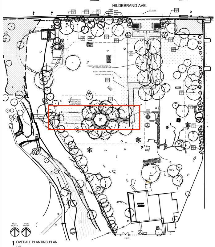 Area of buried walkways.