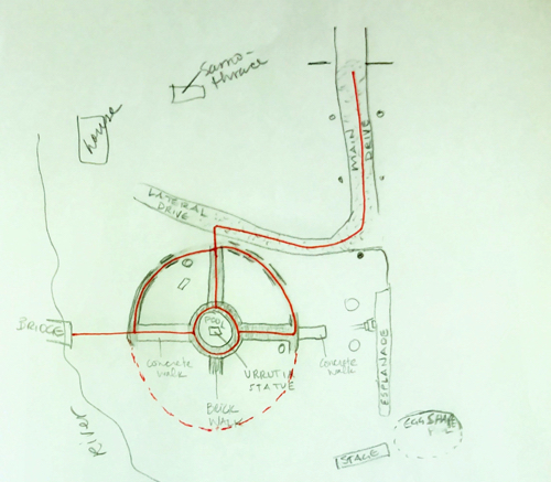 My sketch, shared with the City, showing the compass rose style design of the plaza with a double circular walkway system as indicated by analysis of the site and historical photographs. The diameter of the plaza, with its four quadrants, is approximately 150 feet. Each quadrant was densely planted and also contained benches. The pathway exits the plaza to the north instead of to the east, utilizing more historically accurate pathways and driveway. Drawing by Elise Urrutia.