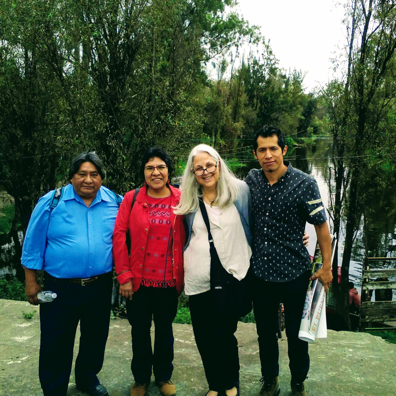 Friends at Xochimilco overlooking Urrutia's former property.