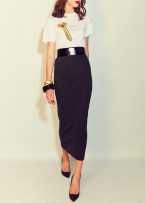 Business or pleasure. White hardware t-shirt and a charcoal pencil skirt.