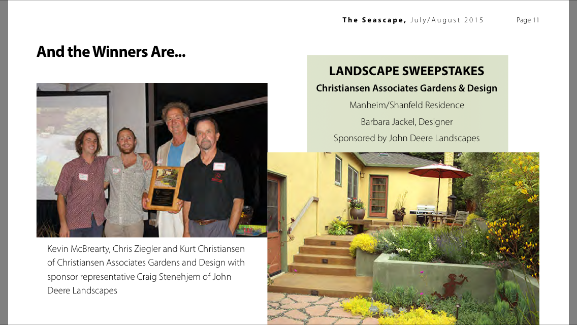 CLCA Central Coast 2015 Landscape Sweepstakes Award