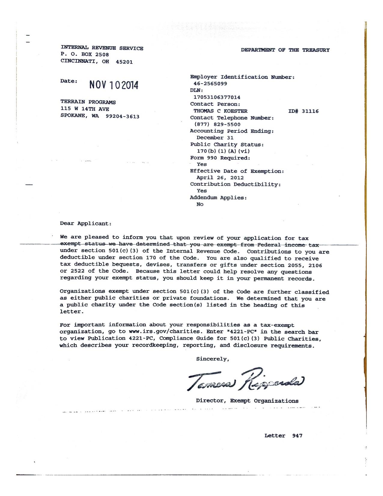 TERRAIN IRS determination letter.jpg