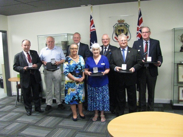 Pictured (rear) are Australia Day 2017 medallion recipients Mickey  Michaelis of the Peacekeepers Sub-Branch,  Tony Carthy from Belconnen Sub-Branch,  Ian Forsyth of Gungahlin Sub-Branch,  Peter Eveille, President of ACT Branch, Graeme Slattery of Tuggeranong Sub-Branch and  Terry Duffy from Tuggeranong Sub-Branch  . At front are our presenter Joy Burch, Speaker of the Legislative Assembly of the ACT Government and  Florence Sofield, formerly of Woden Sub-Branch and now community support co-ordinator for ACT Branch.