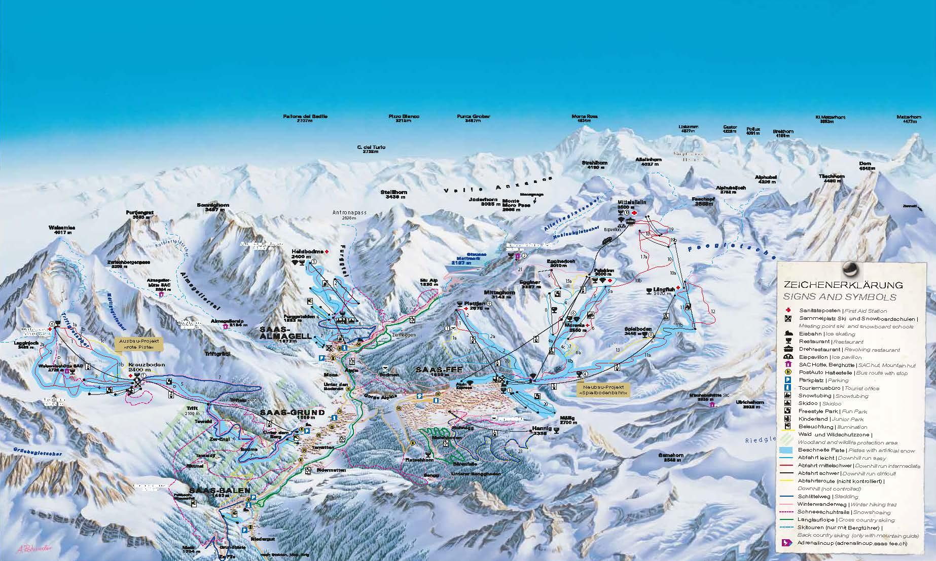 Saas Valley piste map