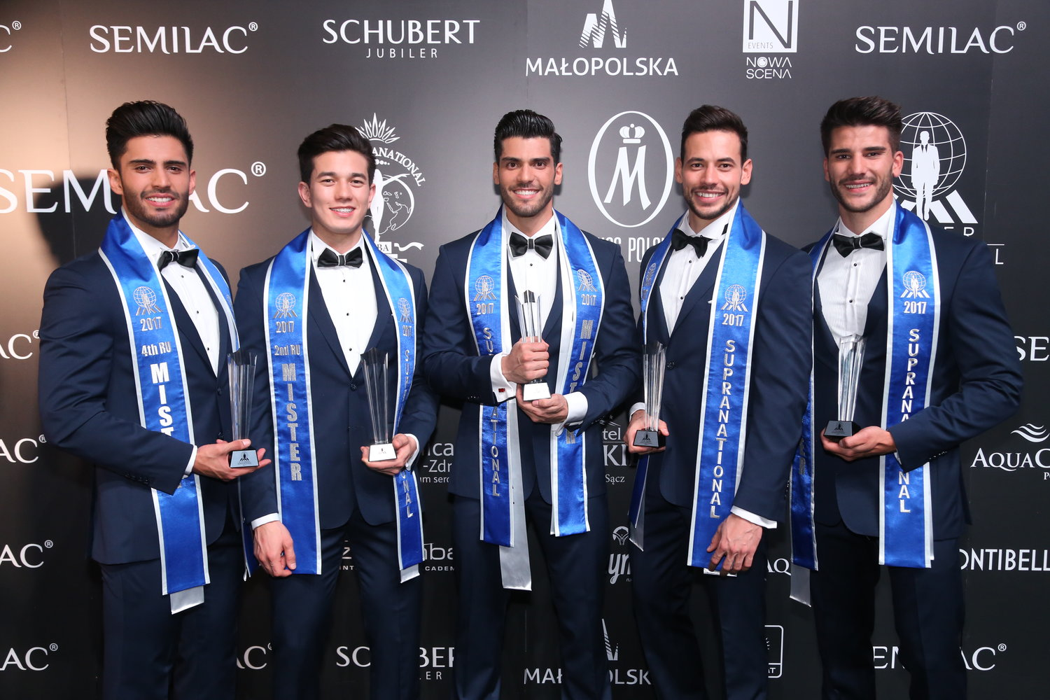 Mister Supranational 2017, Gabriel Correa (Center) with (fLtR) 4th runner-up Mexico, 2nd runner-up Brazil, 3rd runner-up Slovakia and 1st runner-up Spain.
