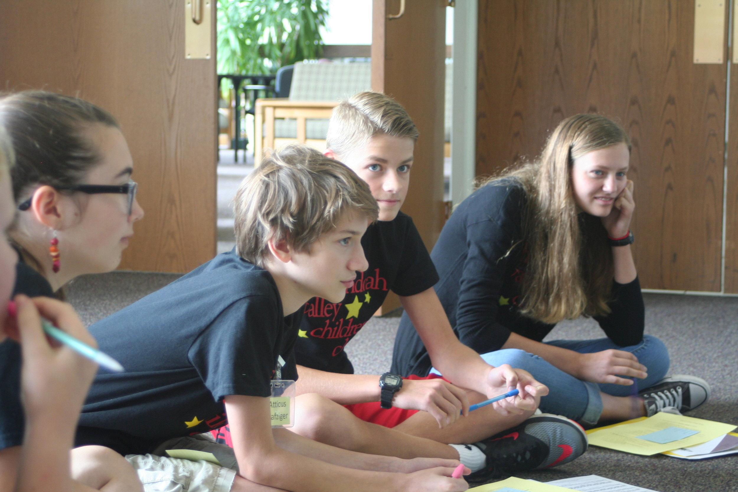2016 (CC) Atticus, Matthew & Sarah at Retreat-Group Work.JPG