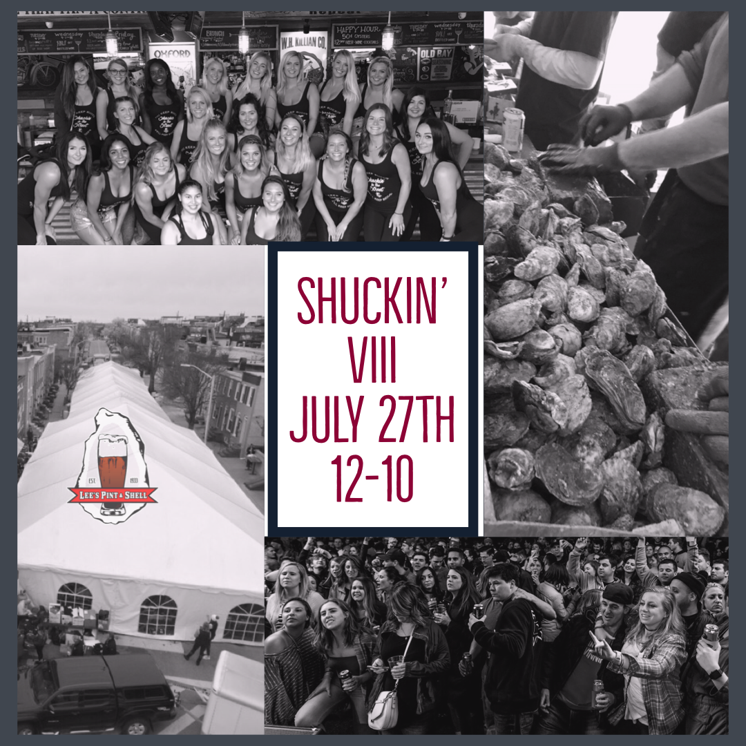 It's this Saturday!! Shuckin' in the Street VIII is back and all the Shuckin' fun starts at 12! - JULY 27TH / SHUCKIN' IN THE STREET VIII• 20,000 FREE OYSTERS FRESHLY SHUCKED• HEAD RUSH • 1-5• CRUSHING DAY • 6-10• DJ NICK PAROS • CRUSH & SHOOTERS BARS• $10 DONATION AT THE DOOR WITH A PORTION OF THE PROCEEDS GOING TO KENNEDY KRIEGER &THE CHESAPEAKE OYSTER RECOVERY PARTNERSHIP#shuckinVIII #shuckininthestreet #leesfamousblockparty #letshavesomefun #havesomeshuckinfun #headrush #crushingday #djnickparos #20000freeoysters #kennedykrieger #areyouready #leespintandshell