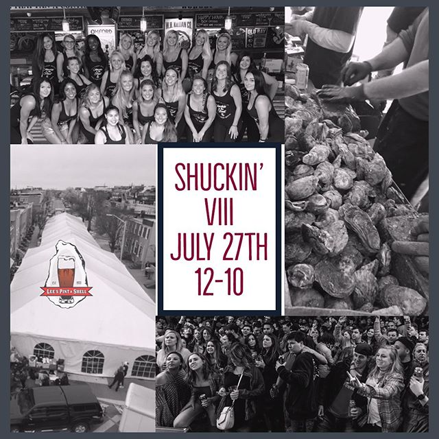 Just 2 more sleeps until...Shuckin in the Street VIII!! All of the Shuckin' fun starts at 12! • 20,000 FREE OYSTERS FRESHLY SHUCKED • HEAD RUSH • 1-5 • CRUSHING DAY • 6-10 • DJ NICK PAROS • CRUSH & SHOOTERS BARS • $10 DONATION AT THE DOOR WITH A PORTION OF THE PROCEEDS GOING TO KENNEDY KRIEGER &THE CHESAPEAKE OYSTER RECOVERY PARTNERSHIP  #shuckinVIII #shuckininthestreet #leesfamousblockparty #letshavesomefun #havesomeshuckinfun #headrush #crushingday #djnickparos #20000freeoysters #kennedykrieger #areyouready #leespintandshell