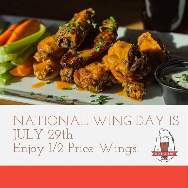 There's nothing better than some good WANGZ unless they're half price! Celebrate National Wing Day with us TODAY and enjoy our deliciously house smoked wings for 1/2 price! #wings #wangs🐓 #nationalwingday #getyourwangzon #leespintandshell