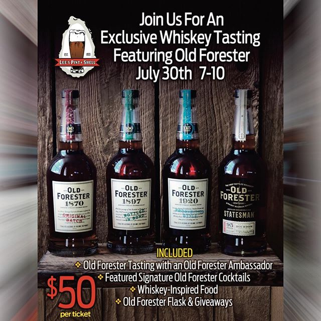 There are only 8 tickets left and it's tomorrow! You won't want to miss our Exclusive Whiskey Tasting Featuring Old Forester on tomorrow, July 30th from 7-10! $50 PER TICKET INCLUDES; • Old Forester Tasting with an Old Forester Ambassador • Signature Old Forester Cocktails • Whiskey-Inspired Food • Old Forester Flask & Giveaways  Get your tickets today at Lee's Pint & Shell! #exclusivewhiskeytasting #oldforester #whiskeylife #canton #leespintandshell🥃