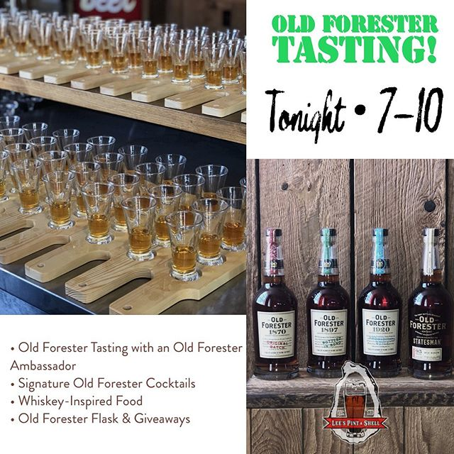 All the fun is just hours away! If you haven't been to one of our Exclusive Whiskey Tastings, we know you'll love it! Tonight's event Features Old Forester!  Tickets are just $50 and include: • Old Forester Tasting with an Old Forester Ambassador • Signature Old Forester Cocktails • Whiskey-Inspired Food • Old Forester Flask & Giveaways  #exclusivewhiskeytasting #oldforester #whiskeylife #canton #leespintandshell🥃