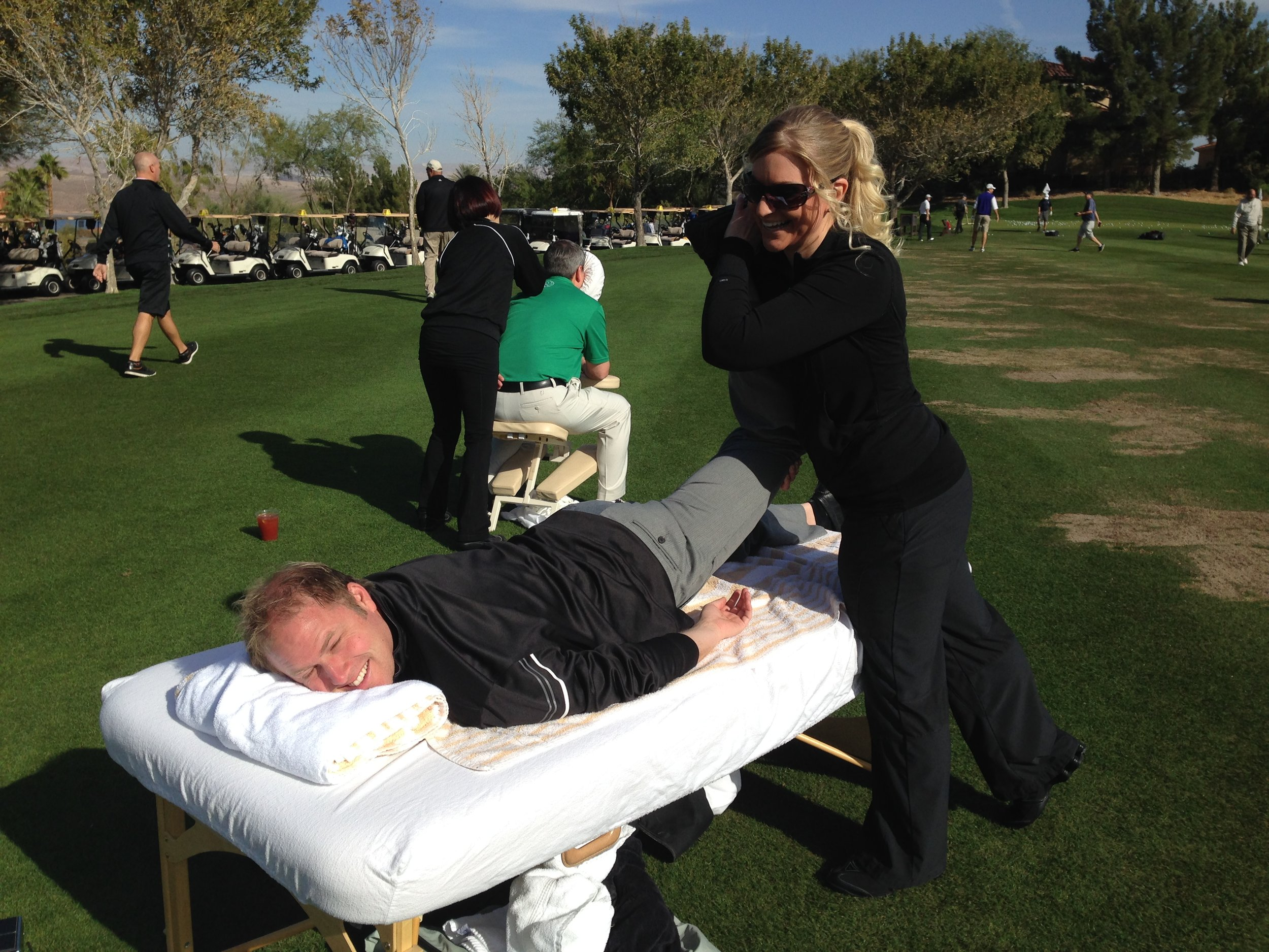 Stretching & Massage on the range is a nice touch that is appreciated by the participants.