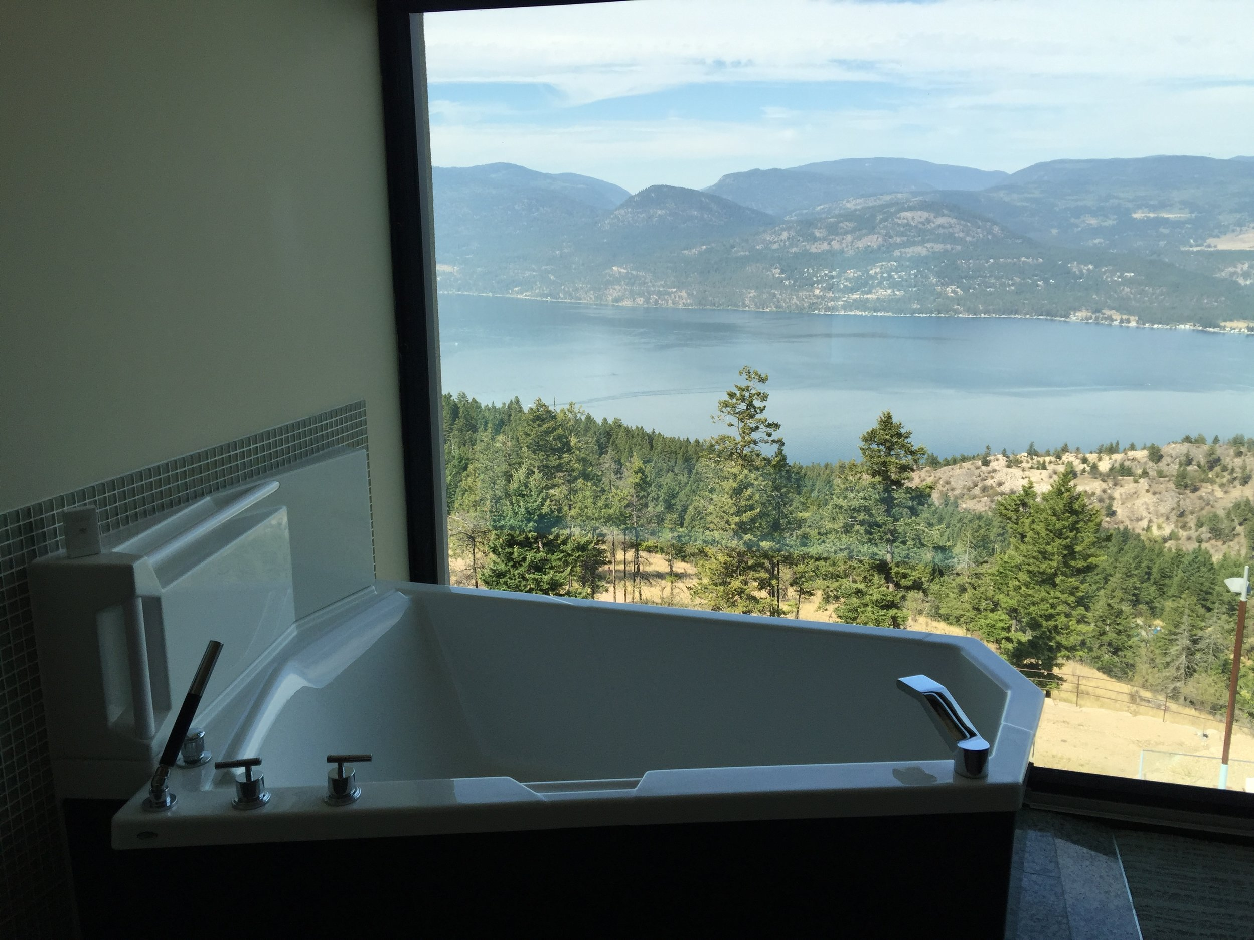 A view from a standard room at the Sparkling Hill Resort.  Below is Okanagan Lake.