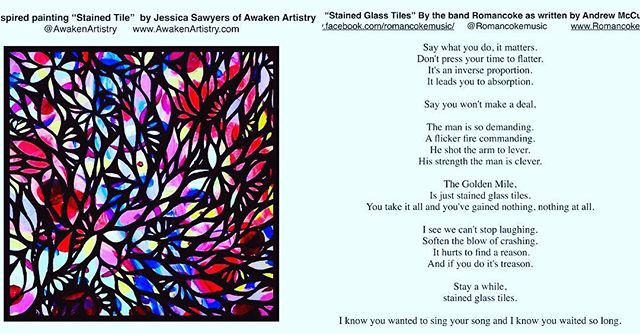 "A few months ago @awakenartistry Submitted the lyrics to one of our new songs ""Stained Glass Tiles"" along with her artwork to a local art publication @sick muse.chi It was accepted 🎉and we are excited for the Sick Muse #11 launch party tomorrow evening! It's open to the public, so come and hang out if you can! Details are on FB 😁 . . . #artforart #artistsupportartists #music #lyrics #artpublication #chicagoartists #bandlife #art #artcollaboration #communitynotcompetition #artcommunity #chicagoart #originalmusic #originallyrics #rockandroll #loveart #supportlocalart #supportlocalmusic #chicagomusic #chicagomusicians #chicagoband"