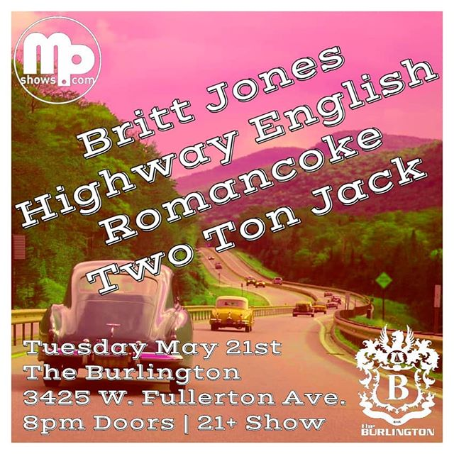Hope to see your pretty faces at The Burlington this Tuesday (5/21) for some local, High Fashion Rock and Roll!