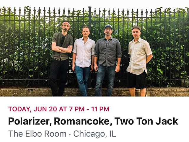 Come out to The Elbo Room tonight, we will have a great show for you with Polarizer and Two Ton Jack! Starts at 8 - hope to see you there! . . . . . . #romancoke #artistsoninstagram #band #chicagoband #chicago #guitar #happy #highfashionrockandroll #indiemusic #inspo #instamusic #liveauthentic #musicians #music #originalsound #passion #positivevibes #purpose #rockandroll #songwriter #theelboroom