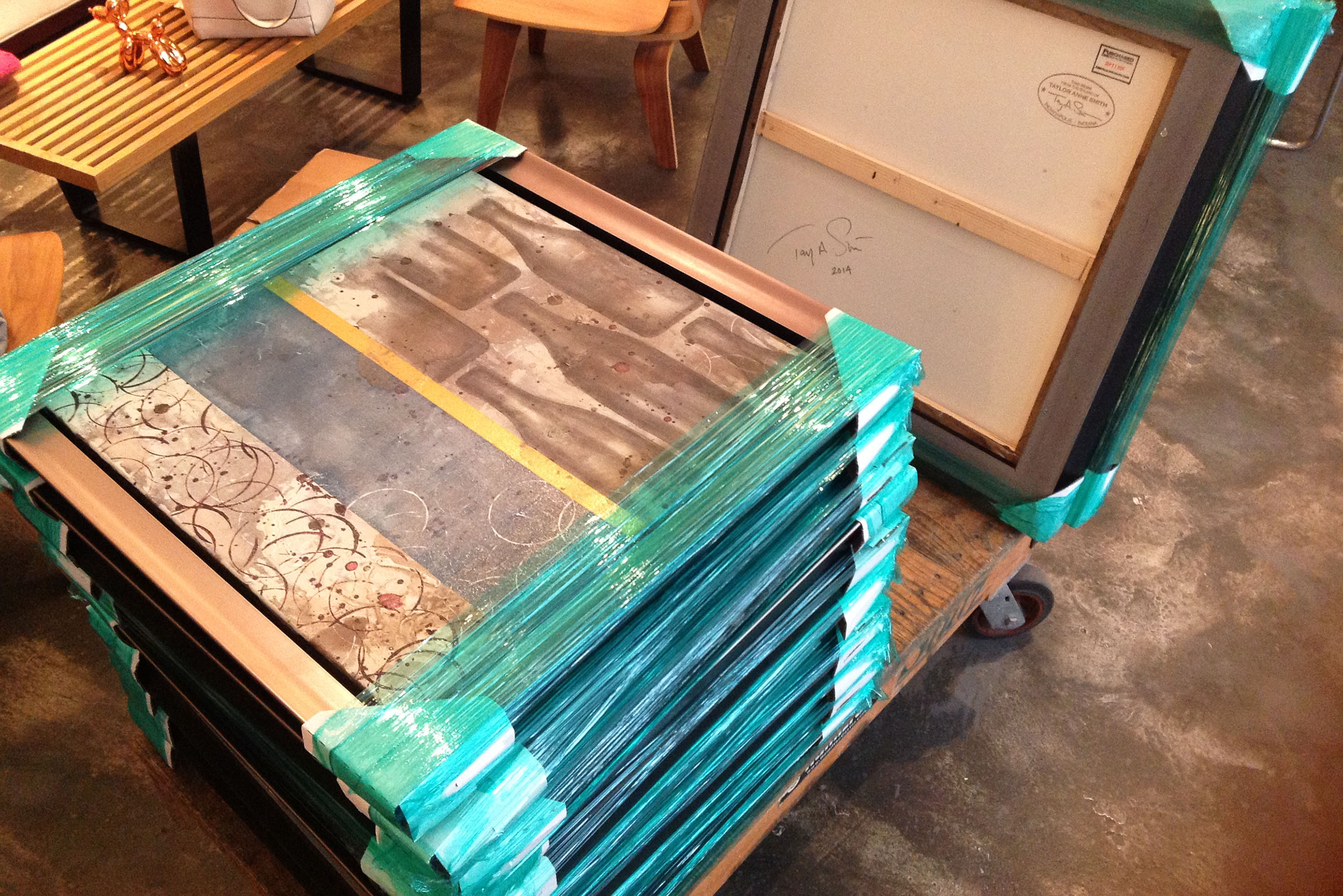 Alchemy Bar chemical Paintings packed for Carnival Cruise Lines.jpg