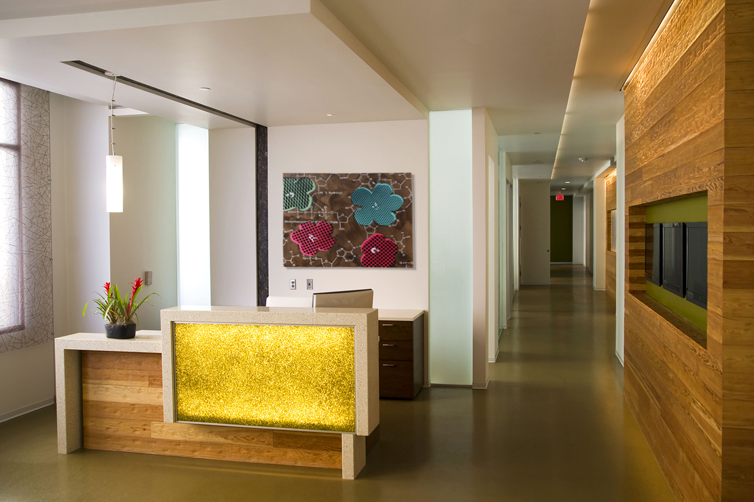 Taylor Smith Pop Art Flowers with chemical DNA in lobby.jpg