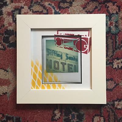 Polaroid hand painted framed Sifting Sands Motel.JPG