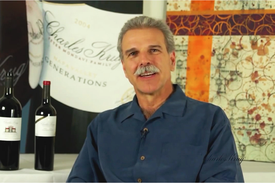 Peter Mondavi Jr. owner of Charles Krug Winery features artwork by Taylor Smith
