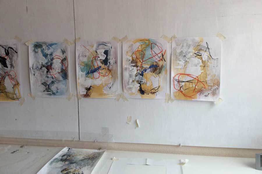 Examples of student artworks at the Taylor Smith artist travel workshop in Spain