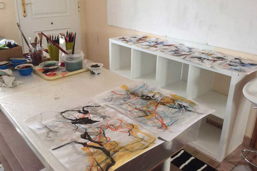 Studio view of our artist travel workshop on the Spanish coast near Barcelona