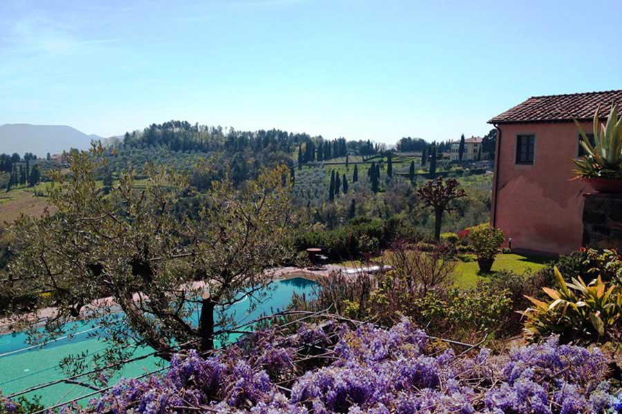 Looking out over the flowers and swimming pool at our artist travel workshop in the South of France. Artist travel workshop participants can relax and enjoy local culture while learning masterful techniques in our art workshops