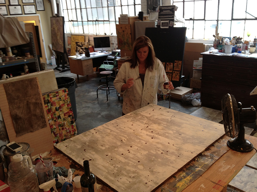 abstract wine artworks being created in the artist studio