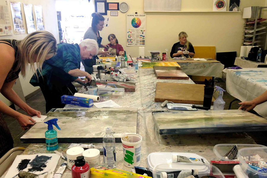 Art travel workshop guests in the studio.jpg