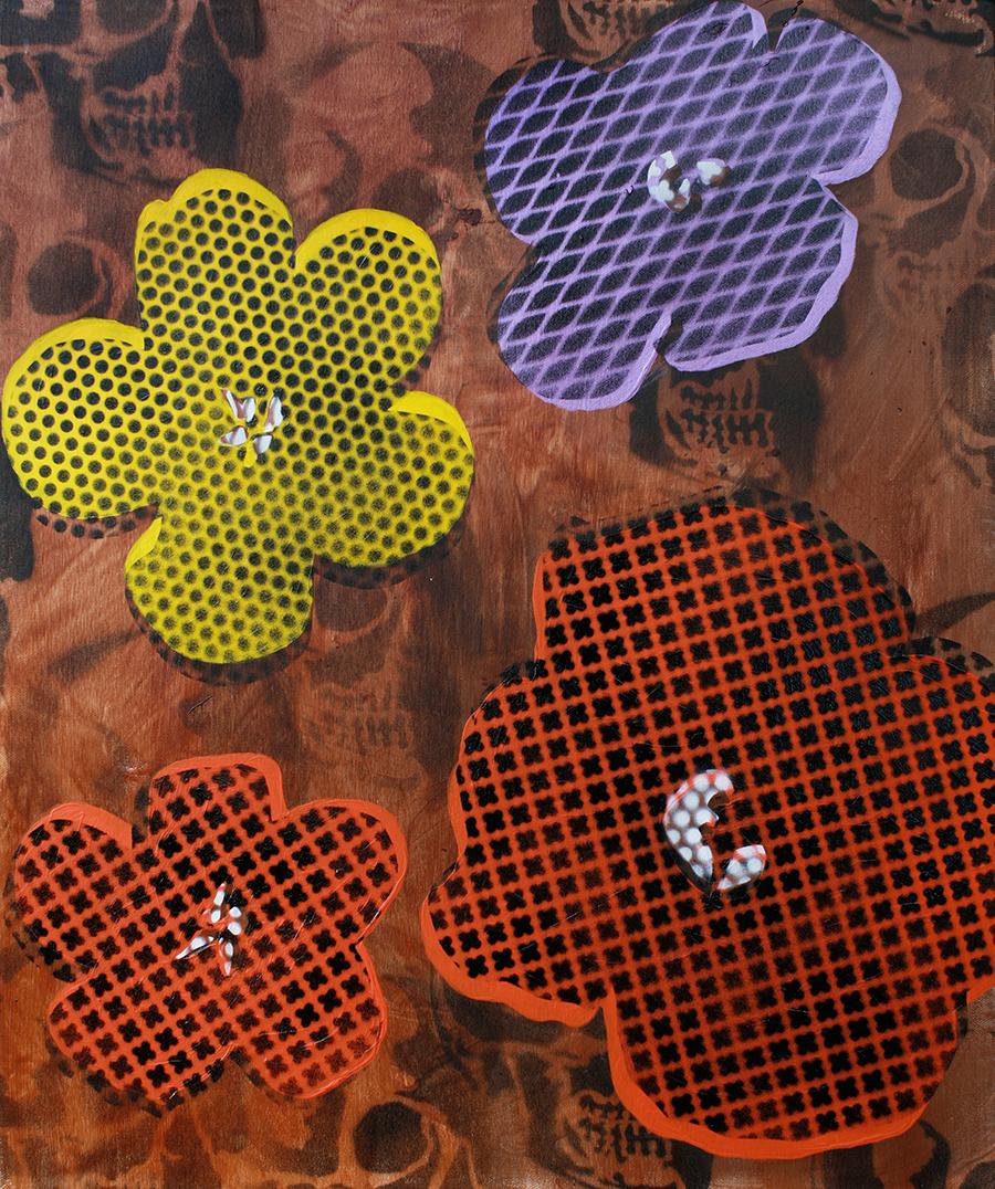 Copy of Still Life Four Flowers & Skull