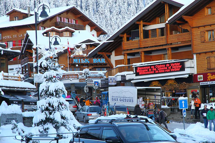 The village of Verbier Switzerland where art enthusiasts and winter sports athletes converge