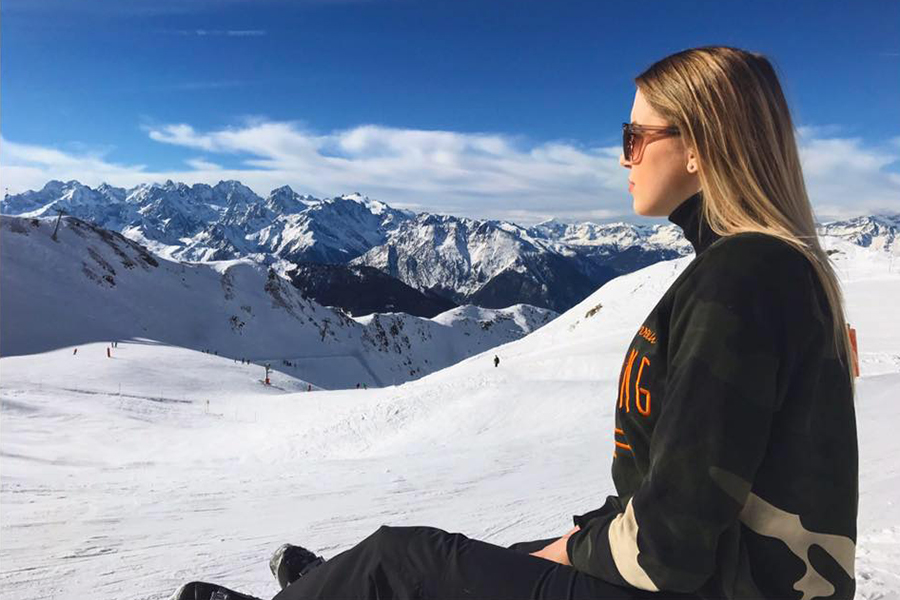 Annika from Germany reflecting upon the beauty of the Verbier snow
