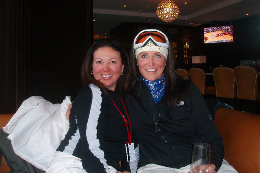 Own The Mountain founder Taylor Smith in Park City with Skboot CEO Caroline Graham