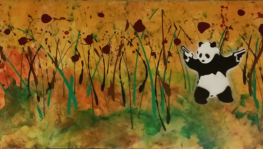 Abstract Landscape with Yakuza Panda