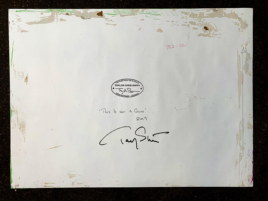 """""""This Is Not A Gun ... (Well, maybe)"""" verso signed by the artist with authentication studio stamp"""