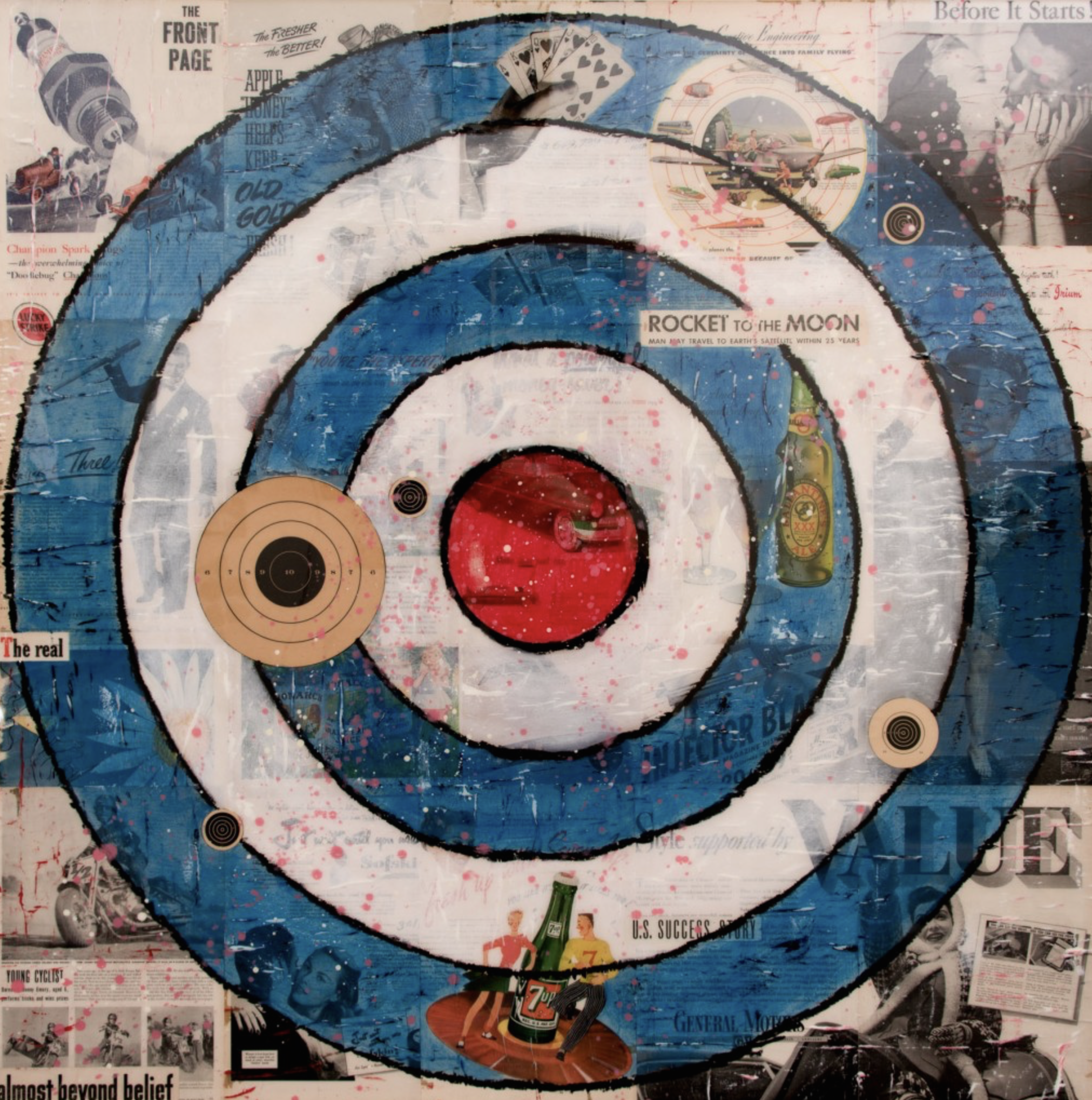before it starts (target)2015_oil vintage ephemera resin on panel 48x48.png