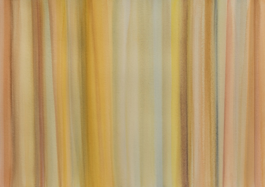 YELLOW LINES, 2017,22X30, WATERCOLOR AND PASTEL ON ARCHES PAPER.jpeg