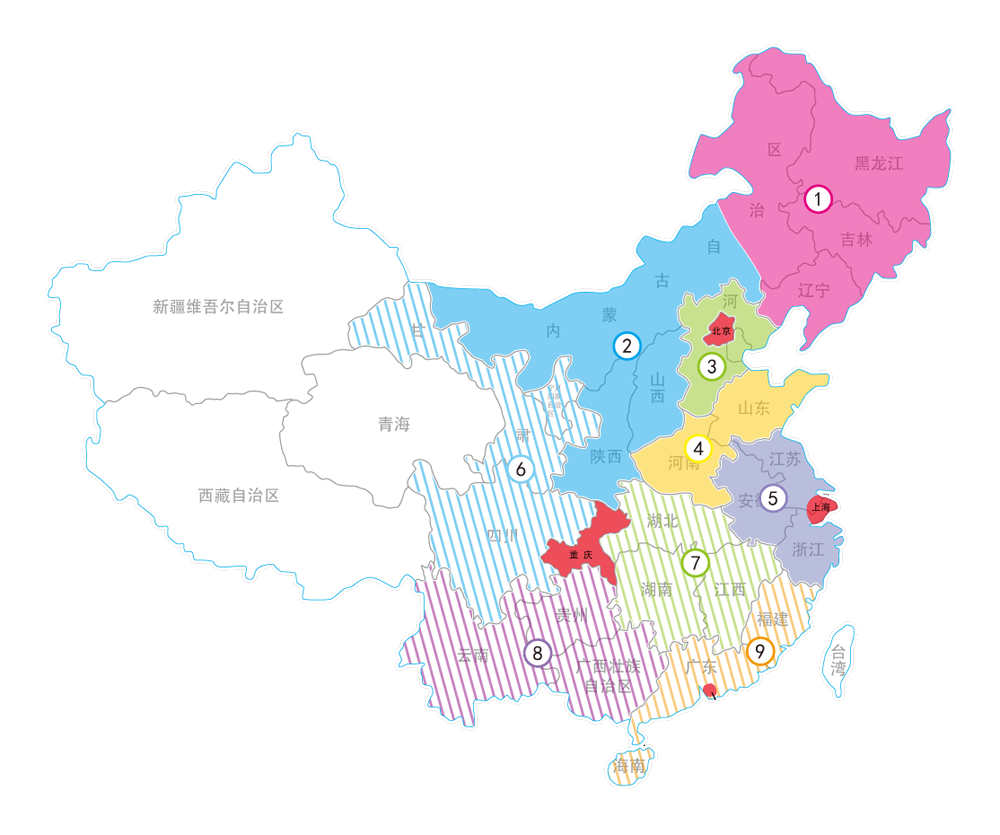 China YoYo Corporation regional map. Shenzhen city regional is that tiny red speckle on the bottom right. As far as the regions are concerned, striped means that the region currently does not have a contest, solid means it does, and red are for city-specific regionals (some cities like Beijing, Shanghai, Shenzhen, Chongqing)are so populated that they also have their own regional).