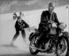 Vintage Motorcycle & Skier Closeup B & W.jpg