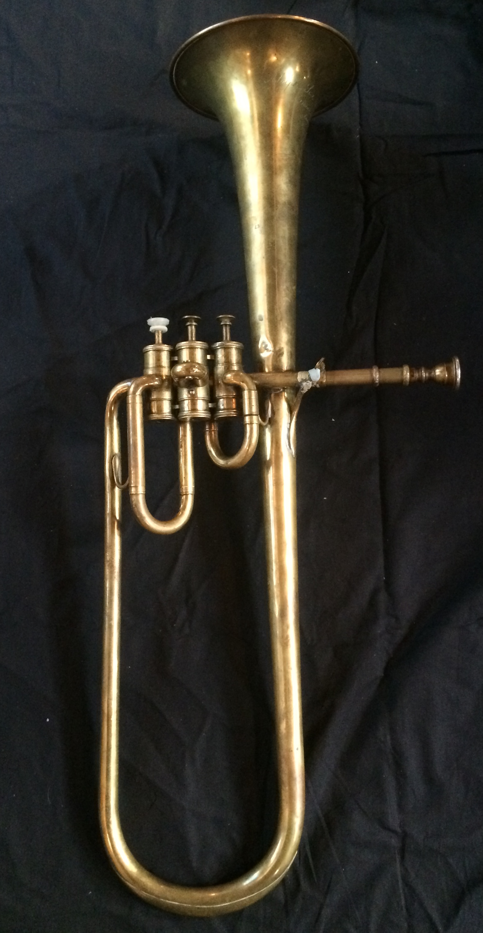 Contralto saxhorn in B flat by Adolphe Sax (Paris), sold by Distin & Sons, Cranbourne Street, Leicester Square, London. c.1849–1850.