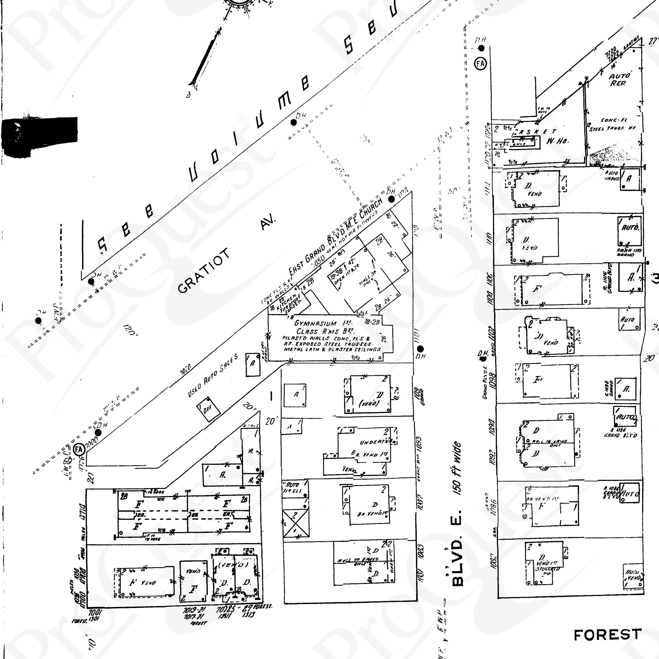 This map from the 1930s shows the widening of Gratiot Avenue. The map also shows the parish house, denoting its pilastered walls, exposed steel trusses, and plastered ceiling. The kitchen that was added is also shown. Note the name change, as well.