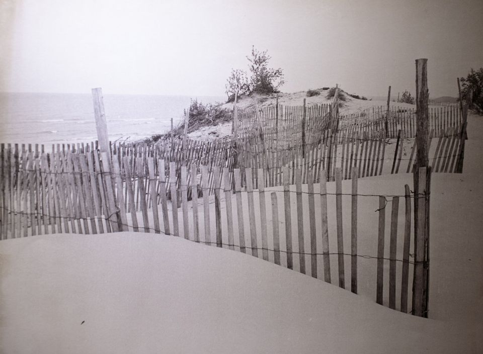 The beach and dunes of Pentwater in 1977, photo via Muskegon Chronicle