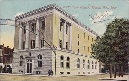Postcard of the Flint Masonic Temple, circa 1920s.