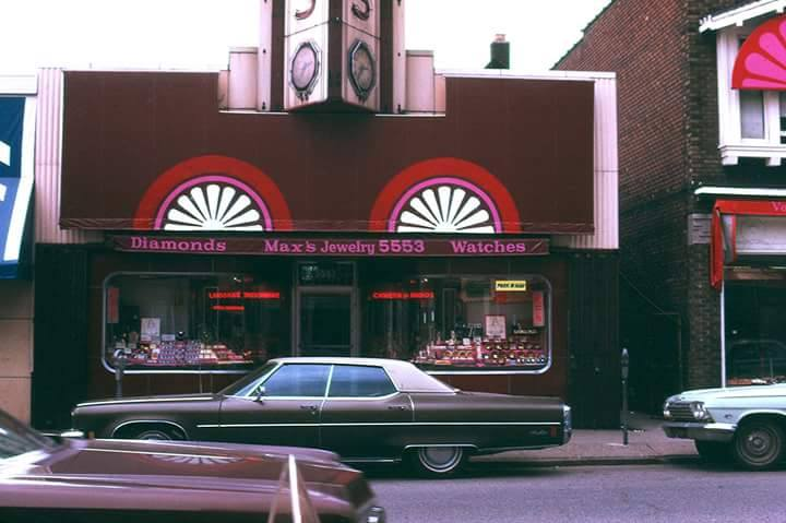 The exterior of Max's in 1974. Photo via: Marian Krzyzowski, University of Michigan Chene Street History Project and Alex Pollack, Detroit City Planning Department.