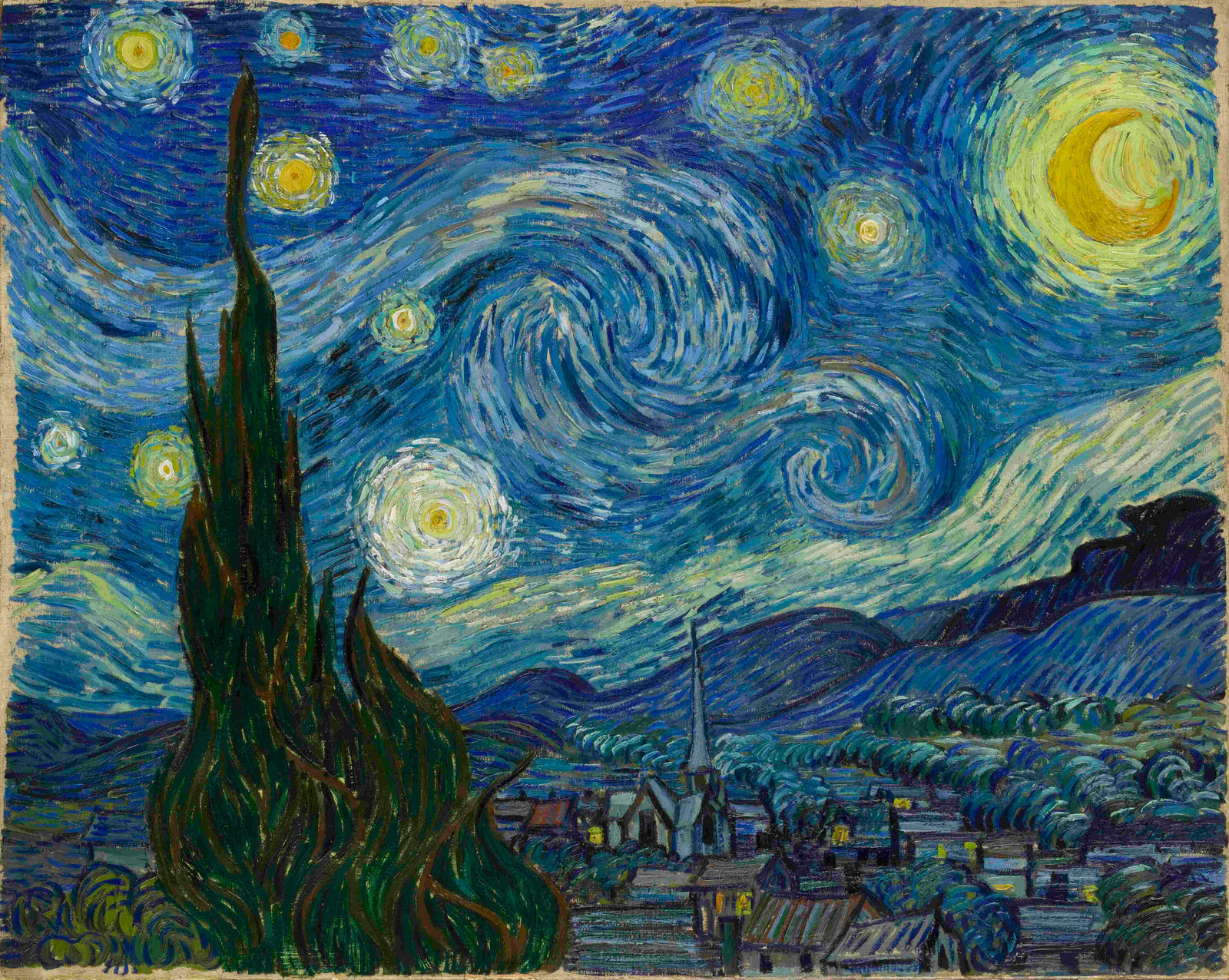 Starry Night,  Van Gogh, 1889