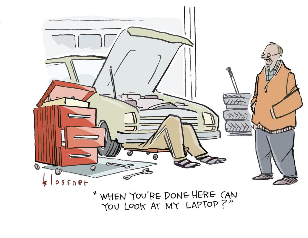 car / laptop